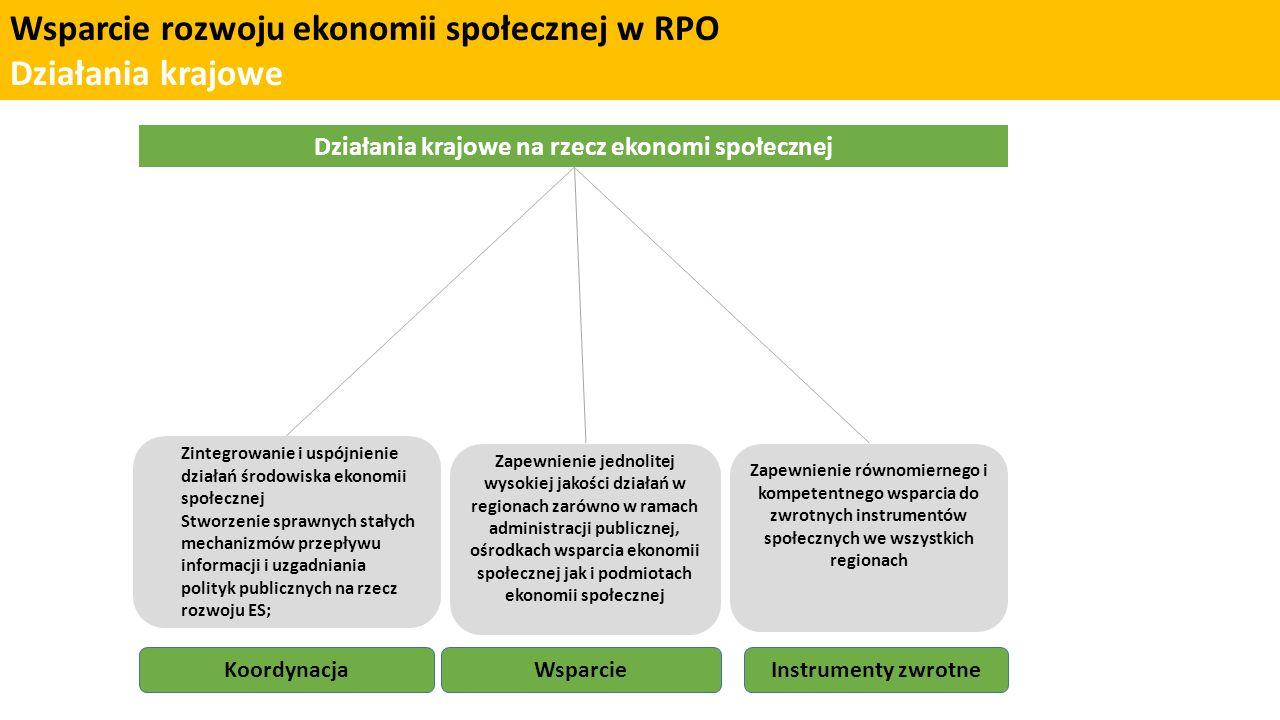 Wsparcie rozwoju ekonomii społecznej w RPO Koordynacja Działania regionalne na rzecz ekonomi społecznej Koordynacja działań w regionie Infrastruktura wsparcia Wsparcie bezzwrotne OWESROPS