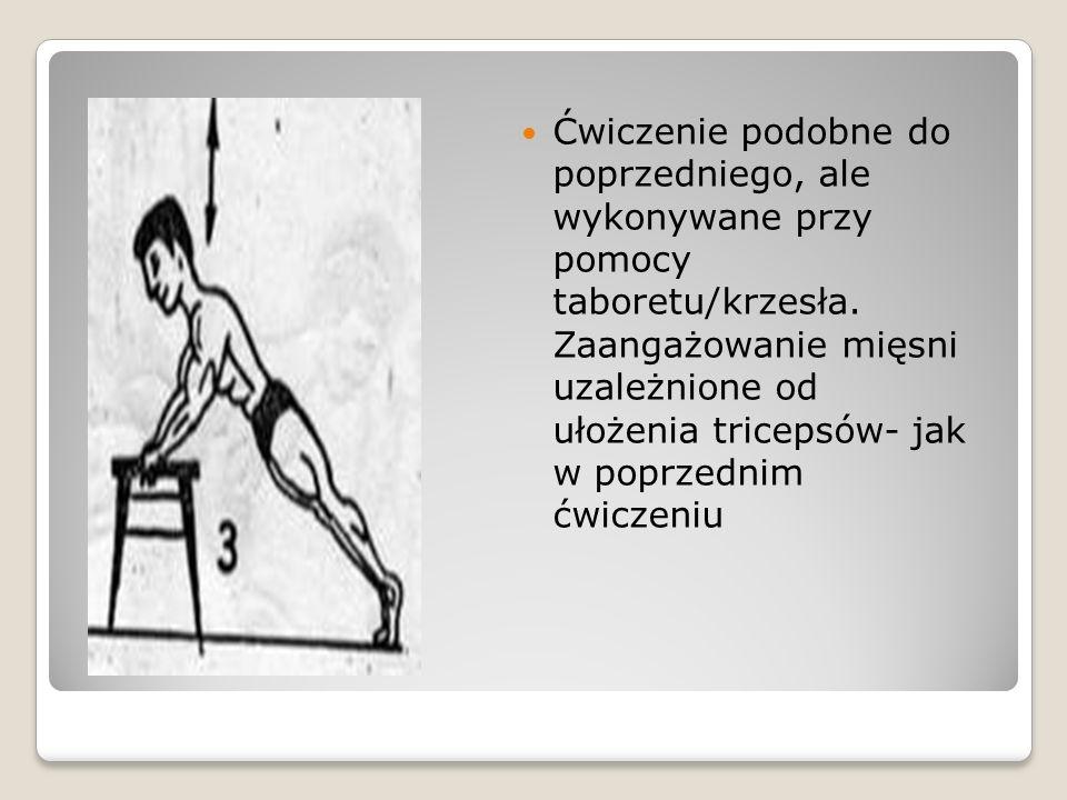 Ćwiczenie podobne do poprzedniego, ale wykonywane przy pomocy taboretu/krzesła. Zaangażowanie mięsni uzależnione od ułożenia tricepsów- jak w poprzedn