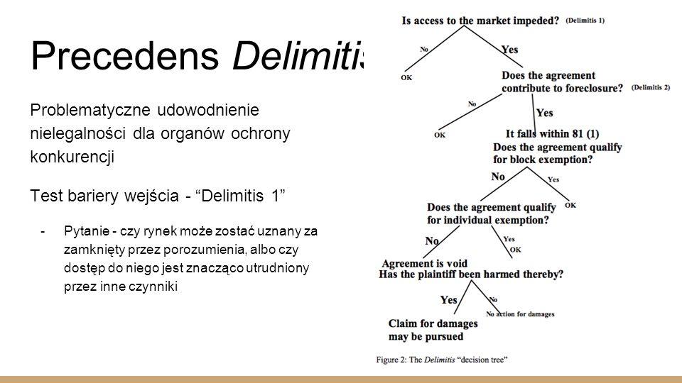 Precedens Delimitis Problematyczne udowodnienie nielegalności dla organów ochrony konkurencji Test bariery wejścia - Delimitis 1  Pytanie - czy rynek może zostać uznany za zamknięty przez porozumienia, albo czy dostęp do niego jest znacząco utrudniony przez inne czynniki