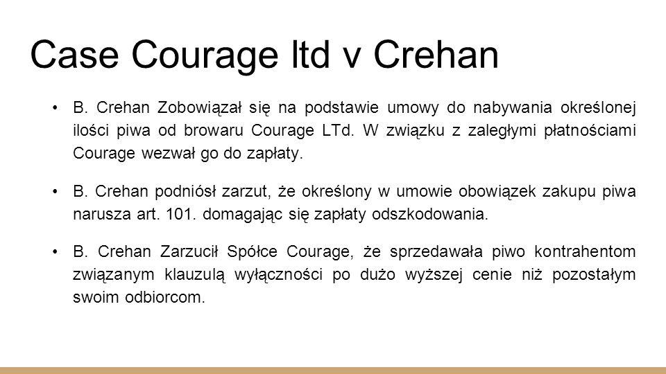 Case Courage ltd v Crehan B.