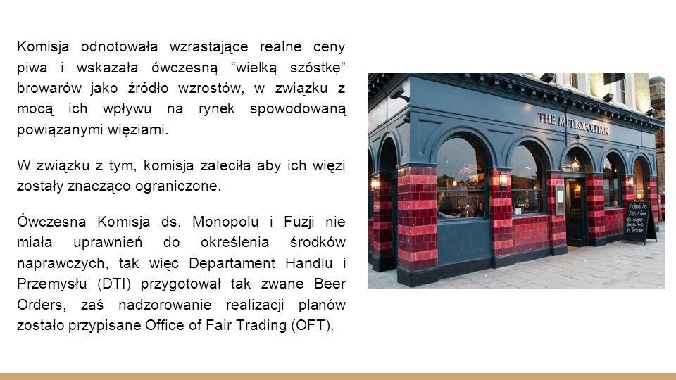 W efekcie wprowadzanych zmian, czyli częściowym rozłączeniem sprzedaży detalicznej od warzenia piwa, niektóre dawne browary postanowiły opuścić rynek.