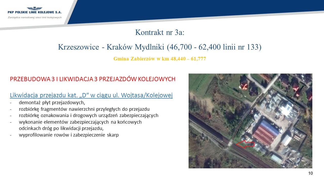 10 Kontrakt nr 3a: Krzeszowice - Kraków Mydlniki (46,700 - 62,400 linii nr 133) Gmina Zabierzów w km 48,440 – 61,777 PRZEBUDOWA 3 I LIKWIDACJA 3 PRZEJ