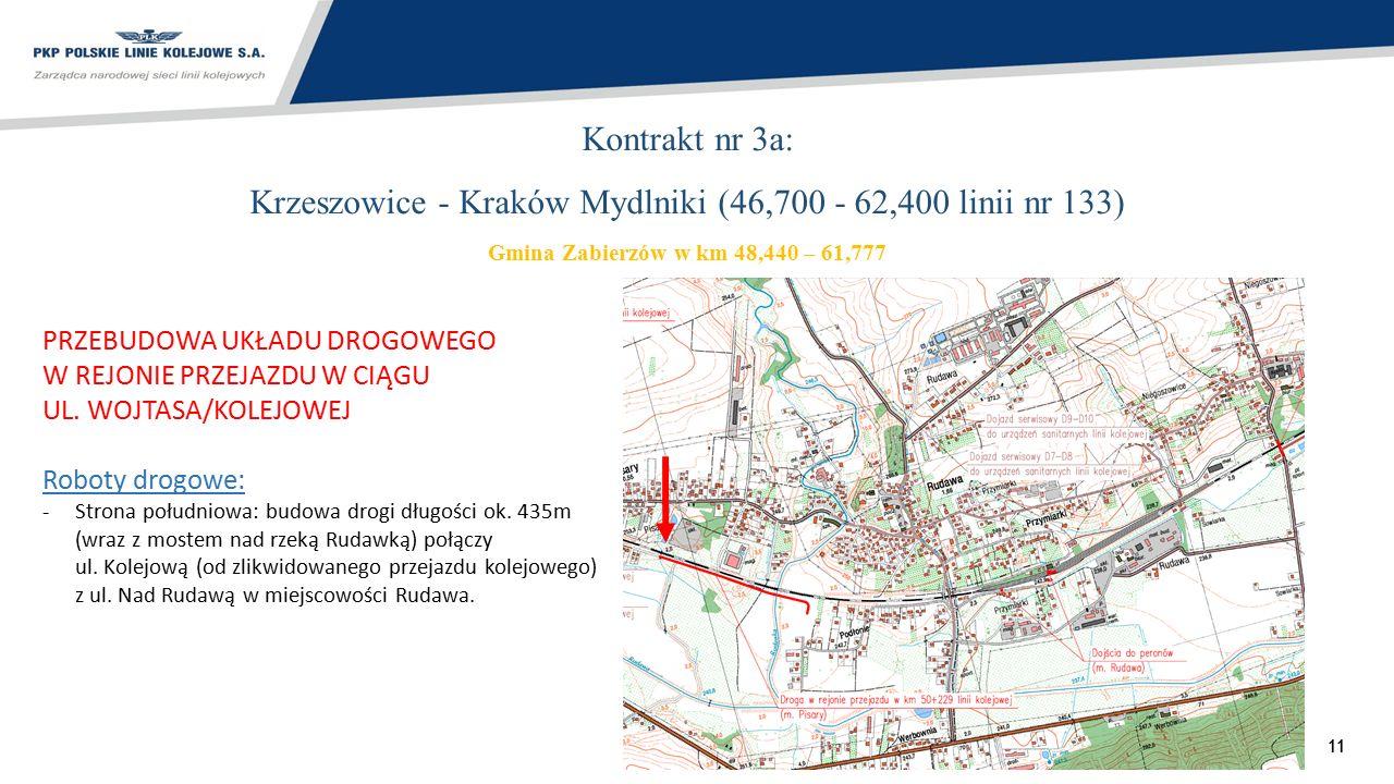 11 Kontrakt nr 3a: Krzeszowice - Kraków Mydlniki (46,700 - 62,400 linii nr 133) Gmina Zabierzów w km 48,440 – 61,777 PRZEBUDOWA UKŁADU DROGOWEGO W REJ