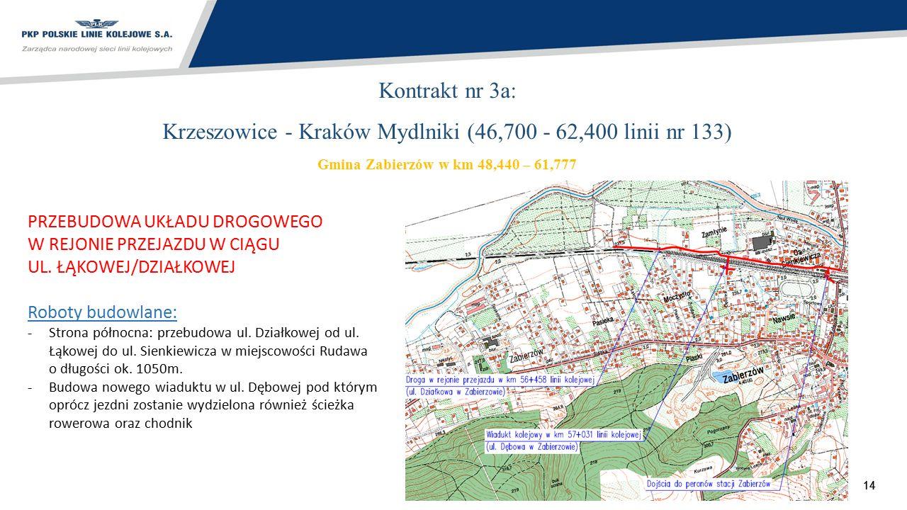 14 Kontrakt nr 3a: Krzeszowice - Kraków Mydlniki (46,700 - 62,400 linii nr 133) Gmina Zabierzów w km 48,440 – 61,777 PRZEBUDOWA UKŁADU DROGOWEGO W REJ