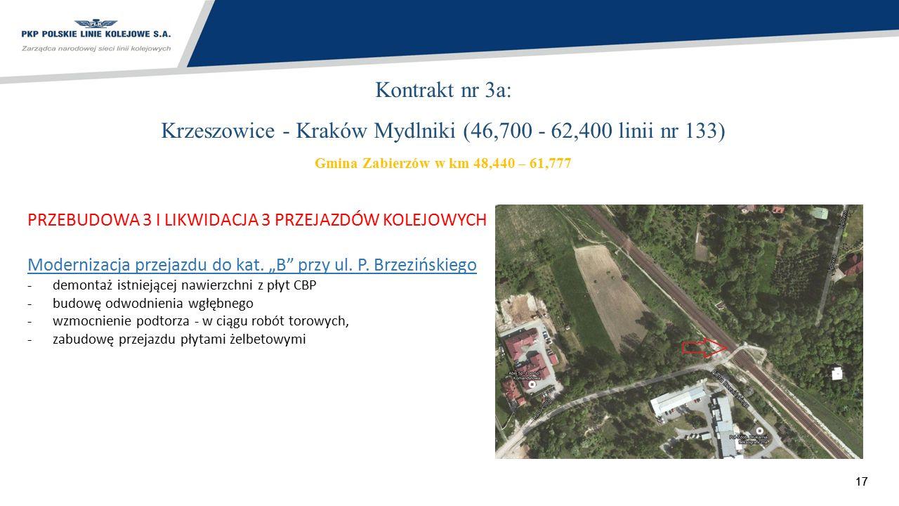 17 Kontrakt nr 3a: Krzeszowice - Kraków Mydlniki (46,700 - 62,400 linii nr 133) Gmina Zabierzów w km 48,440 – 61,777 PRZEBUDOWA 3 I LIKWIDACJA 3 PRZEJ