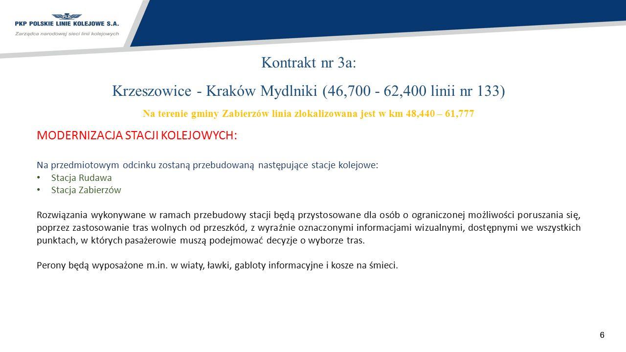 77 Kontrakt nr 3a: Krzeszowice - Kraków Mydlniki (46,700 - 62,400 linii nr 133) Gmina Zabierzów w km 48,440 – 61,777 MODERNIZACJA STACJI KOLEJOWYCH: Stacja Rudawa zostanie przekształcona w przystanek osobowy.