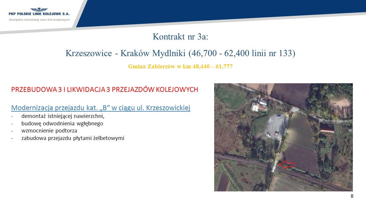 88 Kontrakt nr 3a: Krzeszowice - Kraków Mydlniki (46,700 - 62,400 linii nr 133) Gmina Zabierzów w km 48,440 – 61,777 PRZEBUDOWA 3 I LIKWIDACJA 3 PRZEJ