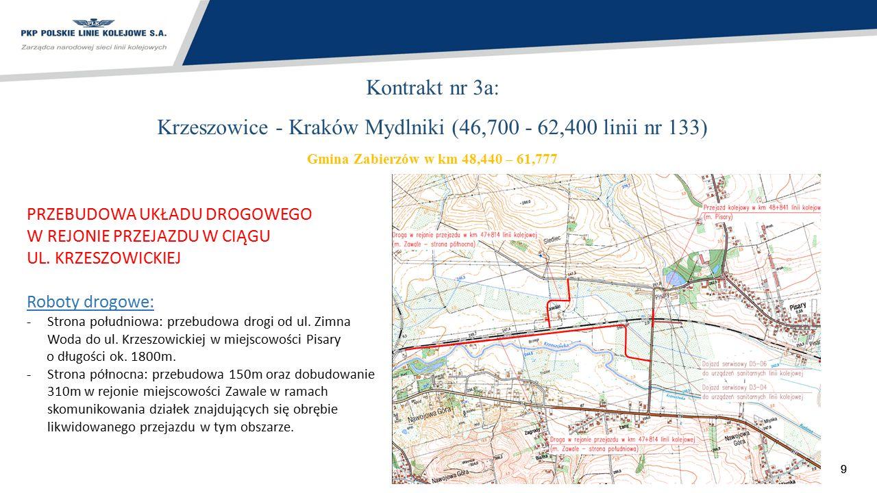 10 Kontrakt nr 3a: Krzeszowice - Kraków Mydlniki (46,700 - 62,400 linii nr 133) Gmina Zabierzów w km 48,440 – 61,777 PRZEBUDOWA 3 I LIKWIDACJA 3 PRZEJAZDÓW KOLEJOWYCH Likwidacja przejazdu kat.