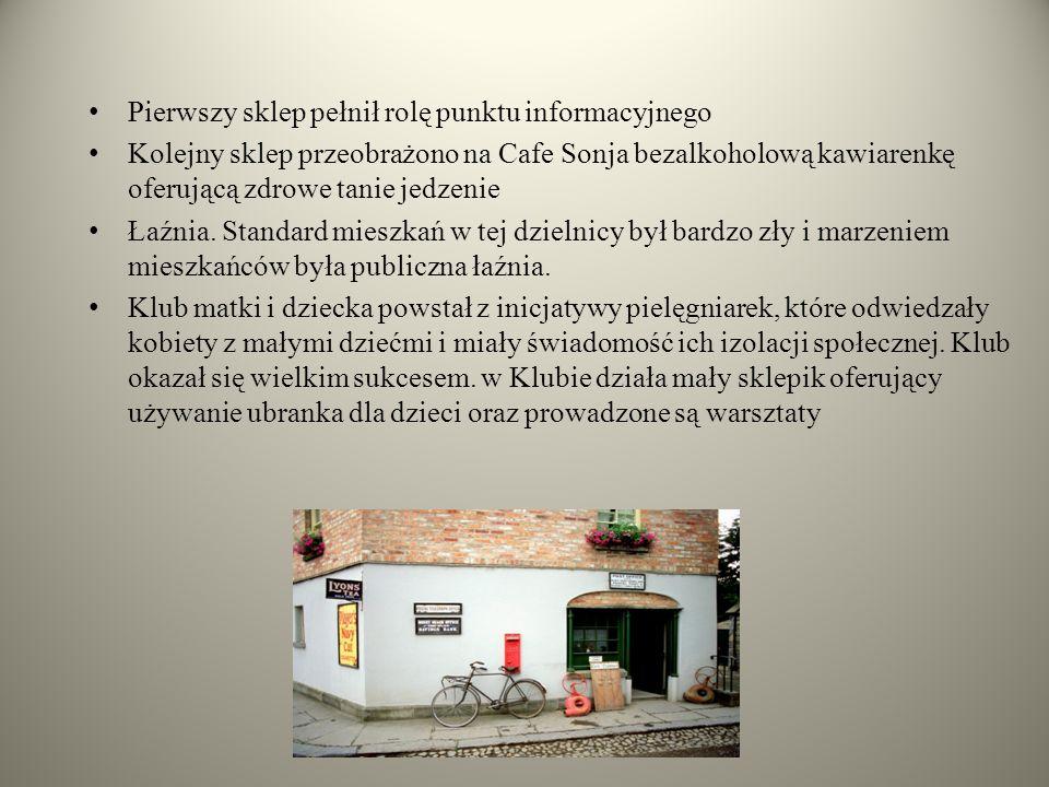 Pierwszy sklep pełnił rolę punktu informacyjnego Kolejny sklep przeobrażono na Cafe Sonja bezalkoholową kawiarenkę oferującą zdrowe tanie jedzenie Łaźnia.