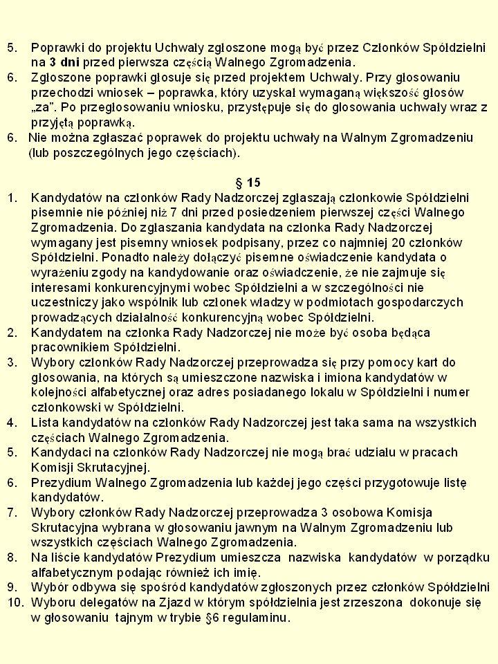 § 16 1.Wybory do Rady Nadzorczej i na Zjazd Związku w którym Spółdzielnia jest zrzeszona dokonuje się przy pomocy kart wyborczych przygotowanych przez Komisję skrutacyjną.