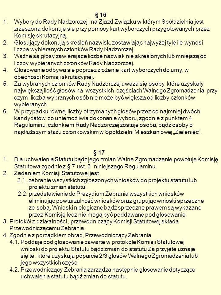 § 16 1.Wybory do Rady Nadzorczej i na Zjazd Związku w którym Spółdzielnia jest zrzeszona dokonuje się przy pomocy kart wyborczych przygotowanych przez