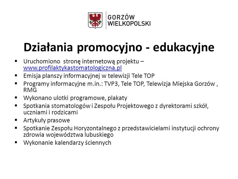 Działania promocyjno - edukacyjne  Uruchomiono stronę internetową projektu – www.profilaktykastomatologiczna.pl www.profilaktykastomatologiczna.pl 
