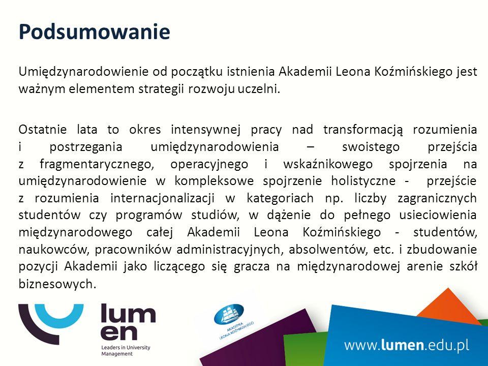 Podsumowanie Umiędzynarodowienie od początku istnienia Akademii Leona Koźmińskiego jest ważnym elementem strategii rozwoju uczelni. Ostatnie lata to o