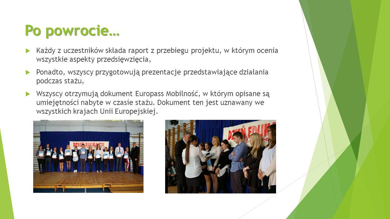 Po powrocie…  Każdy z uczestników składa raport z przebiegu projektu, w którym ocenia wszystkie aspekty przedsięwzięcia,  Ponadto, wszyscy przygotowują prezentacje przedstawiające działania podczas stażu,  Wszyscy otrzymują dokument Europass Mobilność, w którym opisane są umiejętności nabyte w czasie stażu.