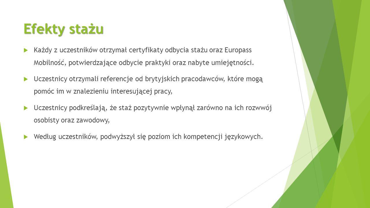 Efekty stażu  Każdy z uczestników otrzymał certyfikaty odbycia stażu oraz Europass Mobilność, potwierdzające odbycie praktyki oraz nabyte umiejętności.