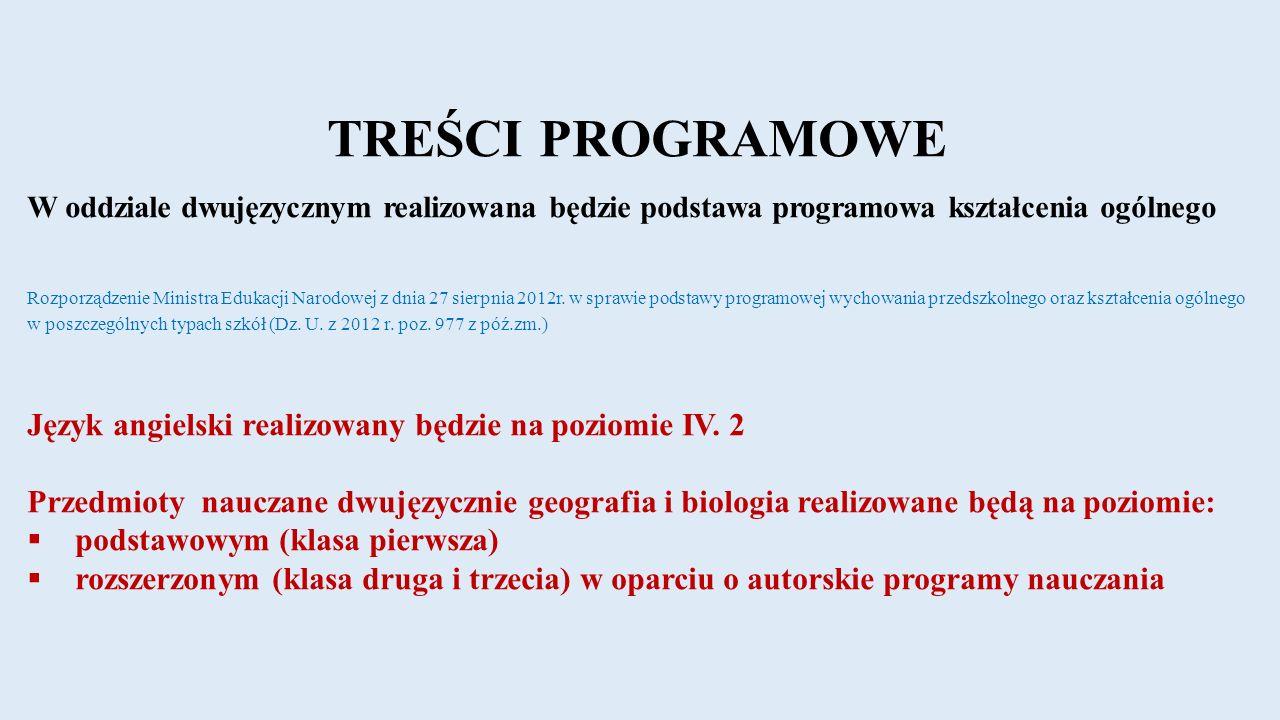 TREŚCI PROGRAMOWE W oddziale dwujęzycznym realizowana będzie podstawa programowa kształcenia ogólnego Rozporządzenie Ministra Edukacji Narodowej z dnia 27 sierpnia 2012r.