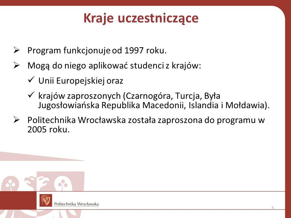 Kraje uczestniczące  Program funkcjonuje od 1997 roku.  Mogą do niego aplikować studenci z krajów: Unii Europejskiej oraz krajów zaproszonych (Czarn