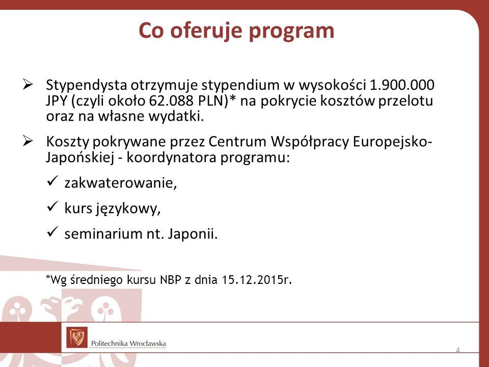 Co oferuje program  Stypendysta otrzymuje stypendium w wysokości 1.900.000 JPY (czyli około 62.088 PLN)* na pokrycie kosztów przelotu oraz na własne wydatki.
