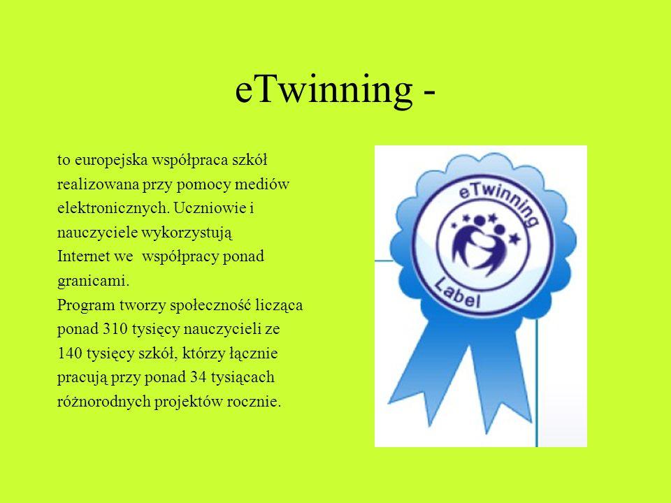 eTwinning - to europejska współpraca szkół realizowana przy pomocy mediów elektronicznych.