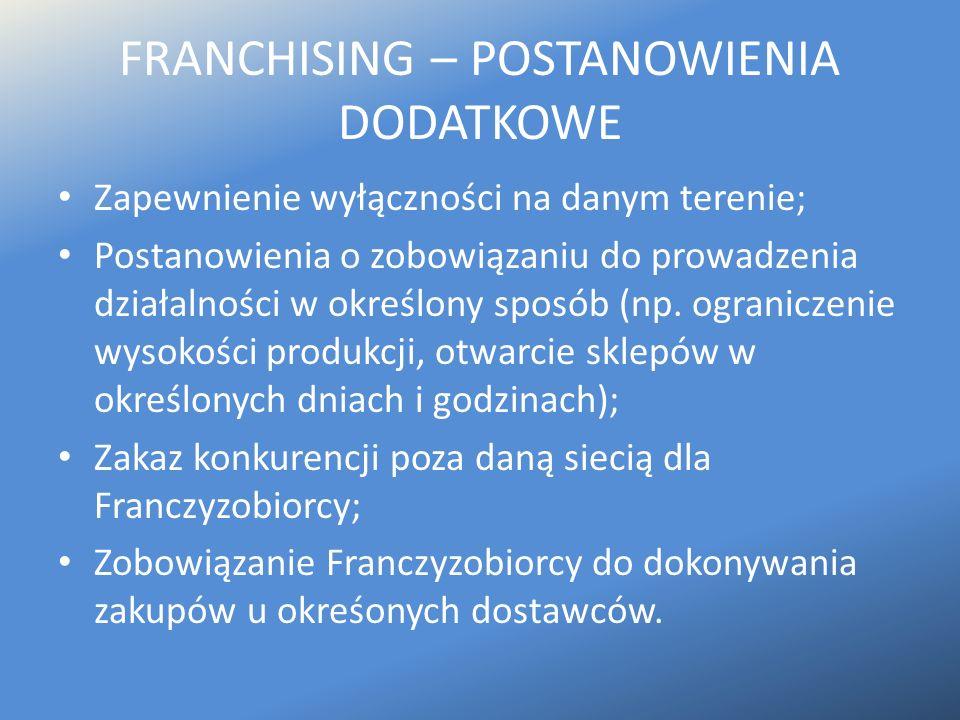 FRANCHISING – POSTANOWIENIA DODATKOWE Zapewnienie wyłączności na danym terenie; Postanowienia o zobowiązaniu do prowadzenia działalności w określony s