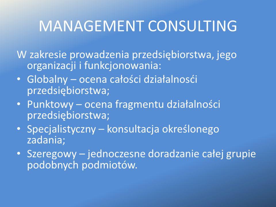 MANAGEMENT CONSULTING W zakresie prowadzenia przedsiębiorstwa, jego organizacji i funkcjonowania: Globalny – ocena całości działalnosći przedsiębiorst