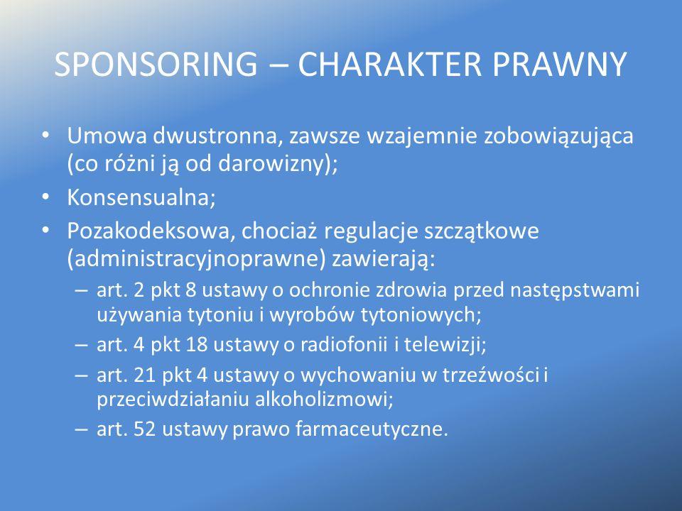 SPONSORING – CHARAKTER PRAWNY Umowa dwustronna, zawsze wzajemnie zobowiązująca (co różni ją od darowizny); Konsensualna; Pozakodeksowa, chociaż regula