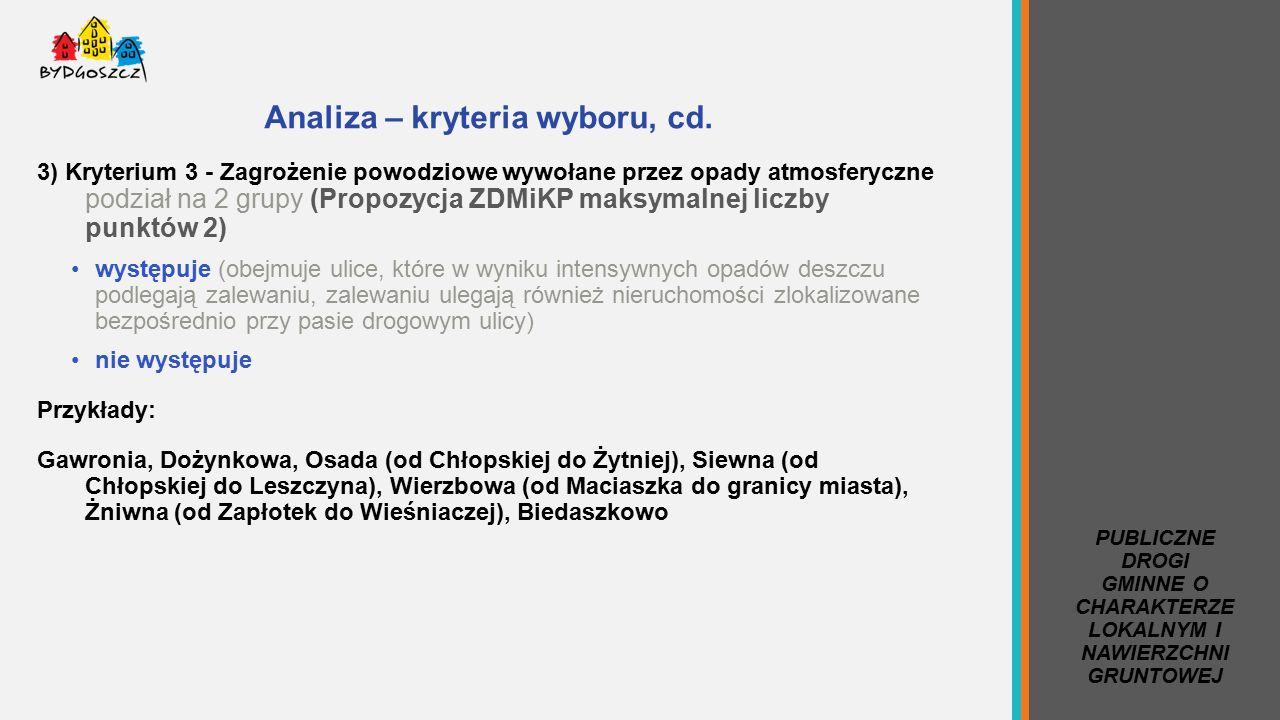 Analiza – kryteria wyboru, cd.