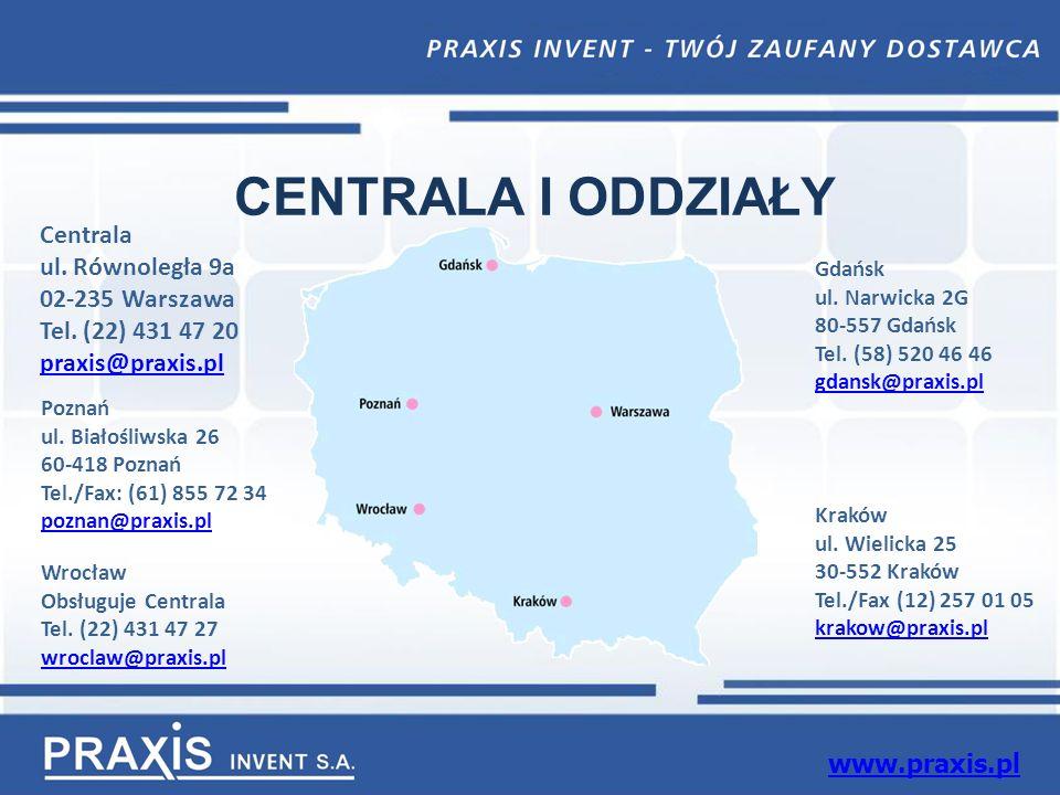 CENTRALA I ODDZIAŁY Centrala ul. Równoległa 9a 02-235 Warszawa Tel.