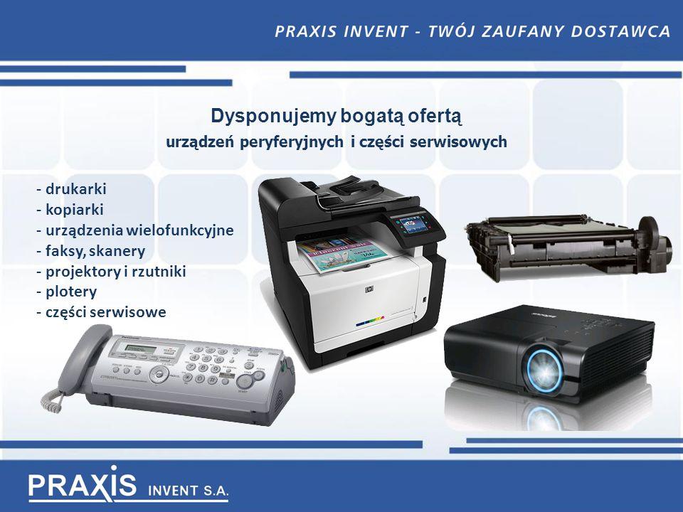 Dysponujemy bogatą ofertą urządzeń peryferyjnych i części serwisowych - drukarki - kopiarki - urządzenia wielofunkcyjne - faksy, skanery - projektory i rzutniki - plotery - części serwisowe