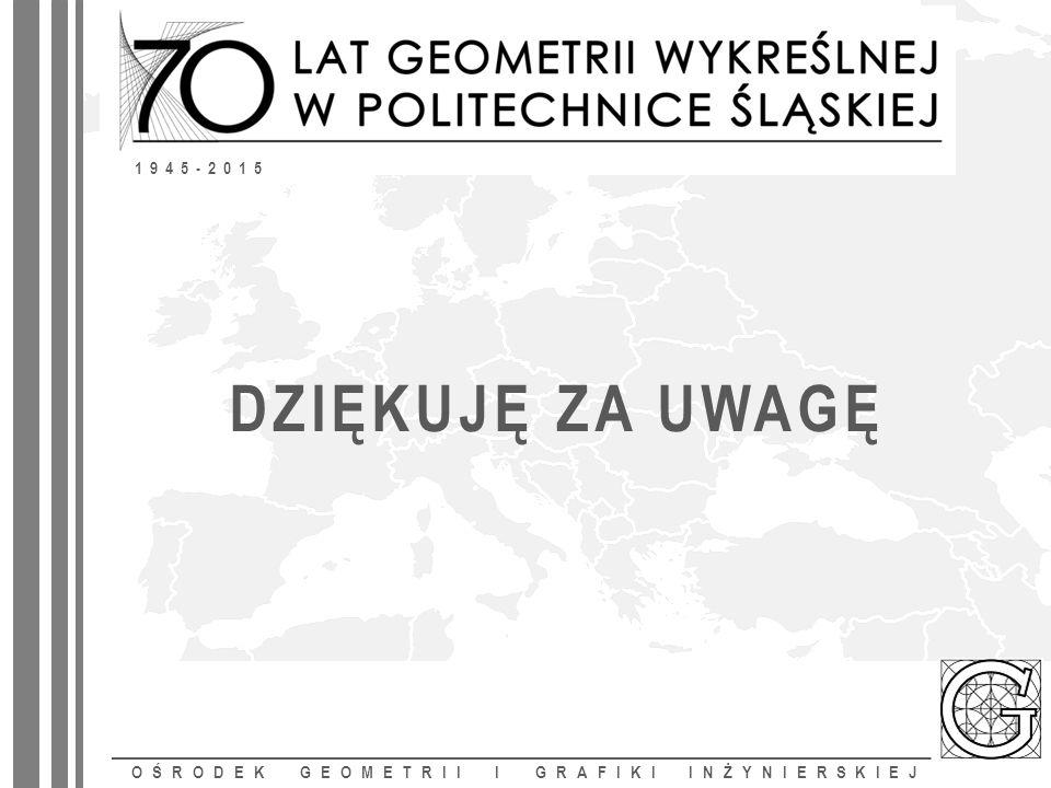 DZIĘKUJĘ ZA UWAGĘ OŚRODEK GEOMETRII I GRAFIKI INŻYNIERSKIEJ 1945-2015