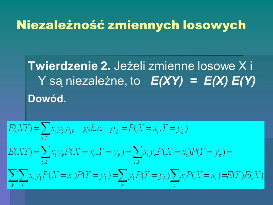 Niezależność zmiennych losowych Twierdzenie 2. Jeżeli zmienne losowe X i Y są niezależne, to E(XY) = E(X) E(Y) Dowód.