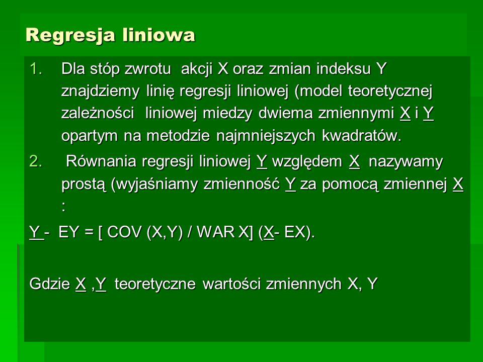 Regresja liniowa 1.Dla stóp zwrotu akcji X oraz zmian indeksu Y znajdziemy linię regresji liniowej (model teoretycznej zależności liniowej miedzy dwie