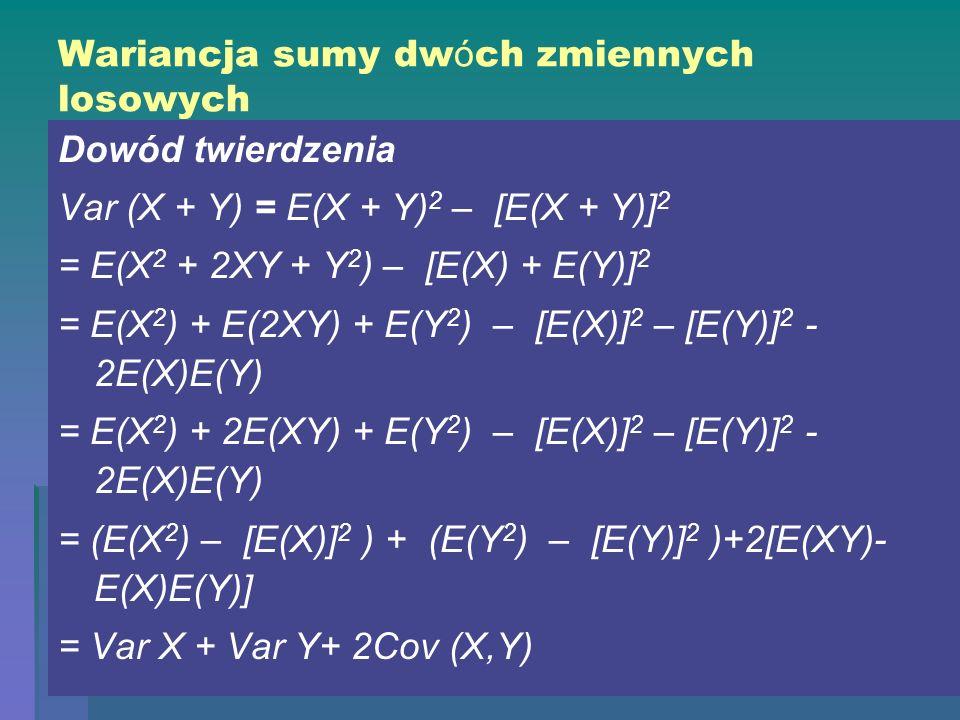 Wariancja sumy dw ó ch zmiennych losowych Dowód twierdzenia Var (X + Y) = E(X + Y) 2 – [E(X + Y)] 2 = E(X 2 + 2XY + Y 2 ) – [E(X) + E(Y)] 2 = E(X 2 )