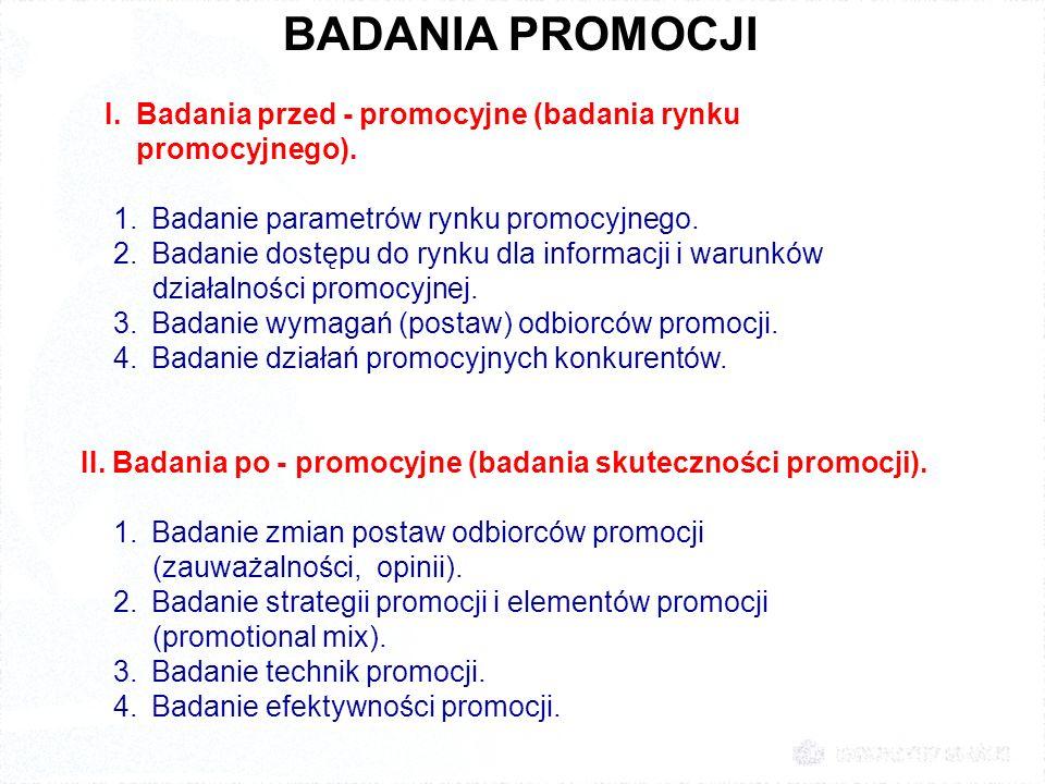 BADANIA PROMOCJI I. Badania przed - promocyjne (badania rynku promocyjnego). 1. Badanie parametrów rynku promocyjnego. 2. Badanie dostępu do rynku dla
