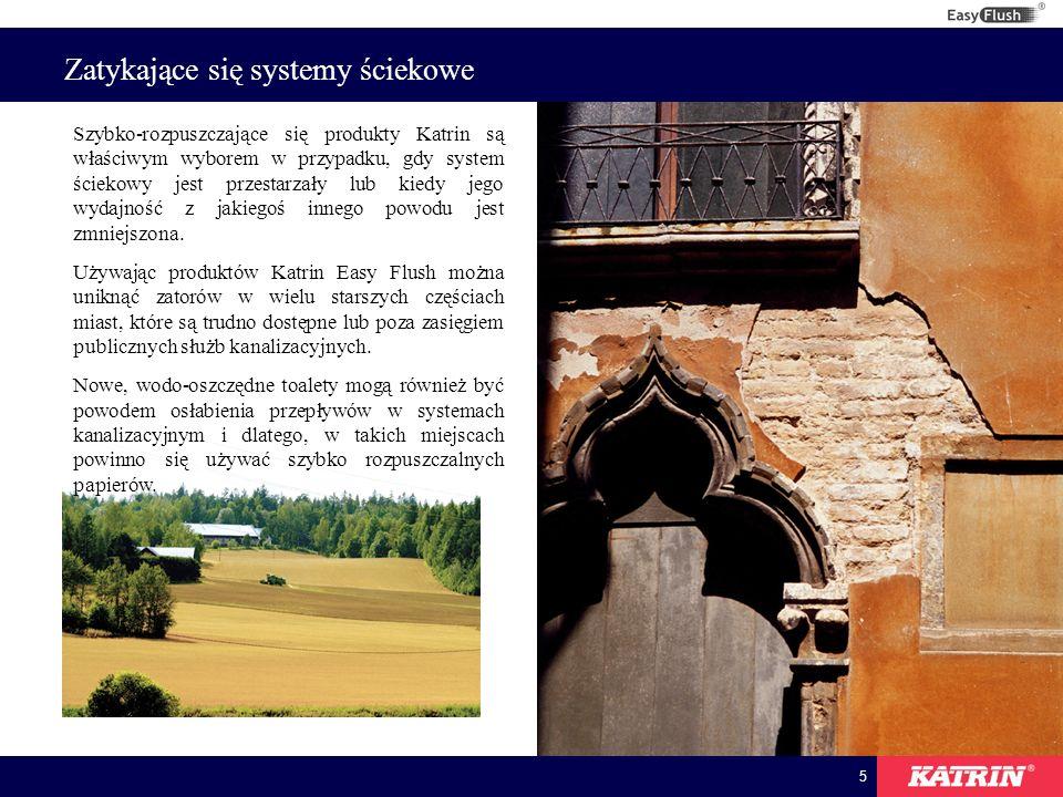5 Zatykające się systemy ściekowe Szybko-rozpuszczające się produkty Katrin są właściwym wyborem w przypadku, gdy system ściekowy jest przestarzały lub kiedy jego wydajność z jakiegoś innego powodu jest zmniejszona.