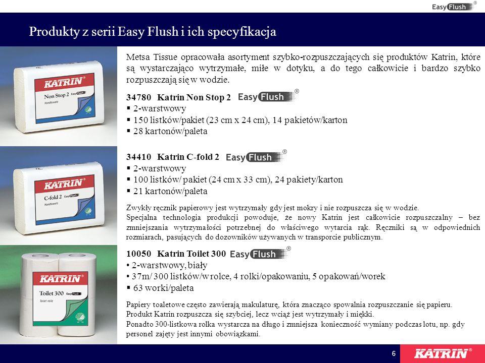 6 Produkty z serii Easy Flush i ich specyfikacja Metsa Tissue opracowała asortyment szybko-rozpuszczających się produktów Katrin, które są wystarczająco wytrzymałe, miłe w dotyku, a do tego całkowicie i bardzo szybko rozpuszczają się w wodzie.