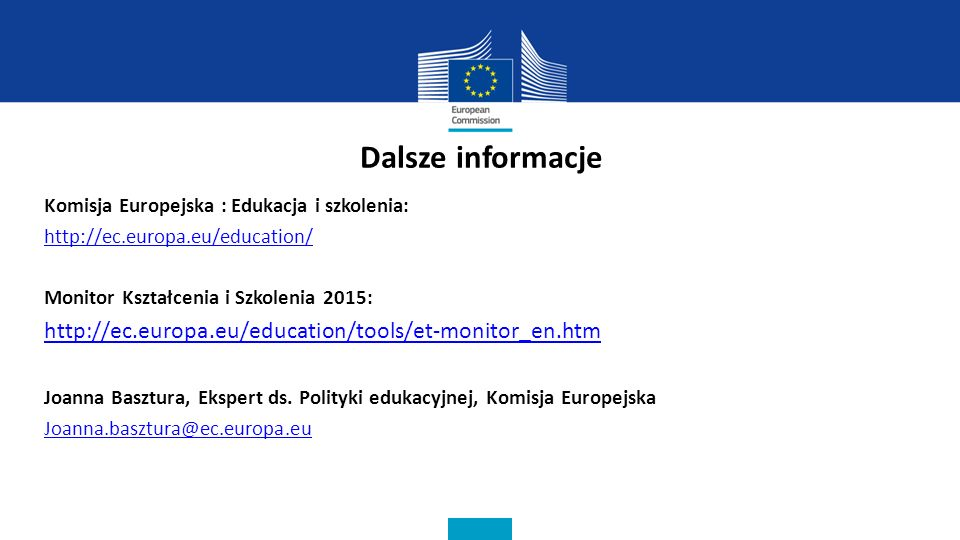 Dalsze informacje Komisja Europejska : Edukacja i szkolenia: http://ec.europa.eu/education/ Monitor Kształcenia i Szkolenia 2015: http://ec.europa.eu/education/tools/et-monitor_en.htm Joanna Basztura, Ekspert ds.