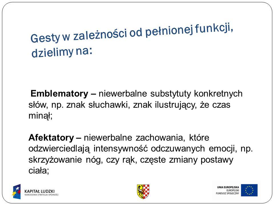 Gesty w zależności od pełnionej funkcji, dzielimy na: Emblematory – niewerbalne substytuty konkretnych słów, np. znak słuchawki, znak ilustrujący, że
