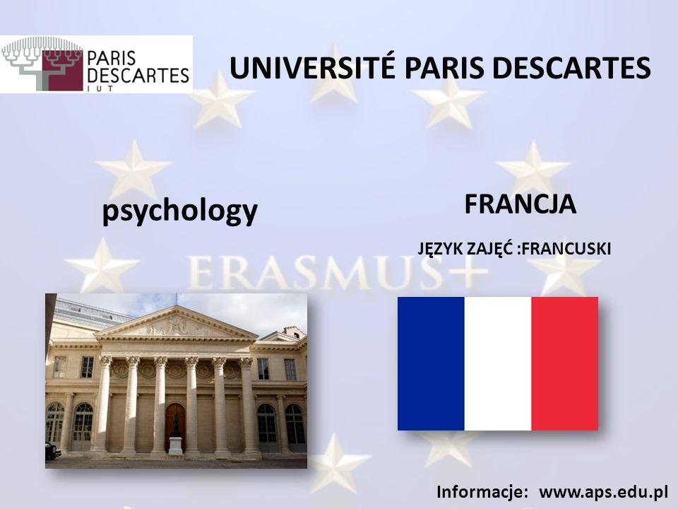 UNIVERSITÉ BUC RESSOURCES JĘZYK ZAJĘĆ :FRANCUSKI Informacje: www.aps.edu.pl social work FRANCJA