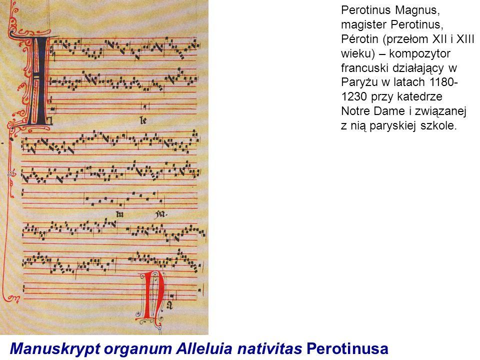 Manuskrypt organum Alleluia nativitas Perotinusa Perotinus Magnus, magister Perotinus, Pérotin (przełom XII i XIII wieku) – kompozytor francuski dział