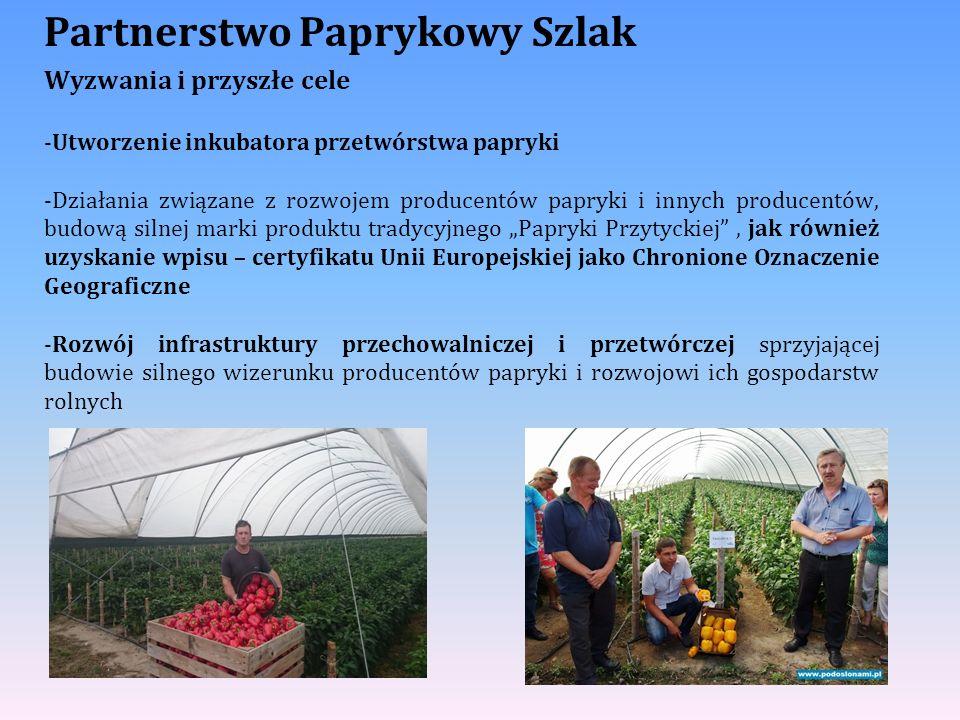 Partnerstwo Paprykowy Szlak Wyzwania i przyszłe cele -Utworzenie inkubatora przetwórstwa papryki -Działania związane z rozwojem producentów papryki i