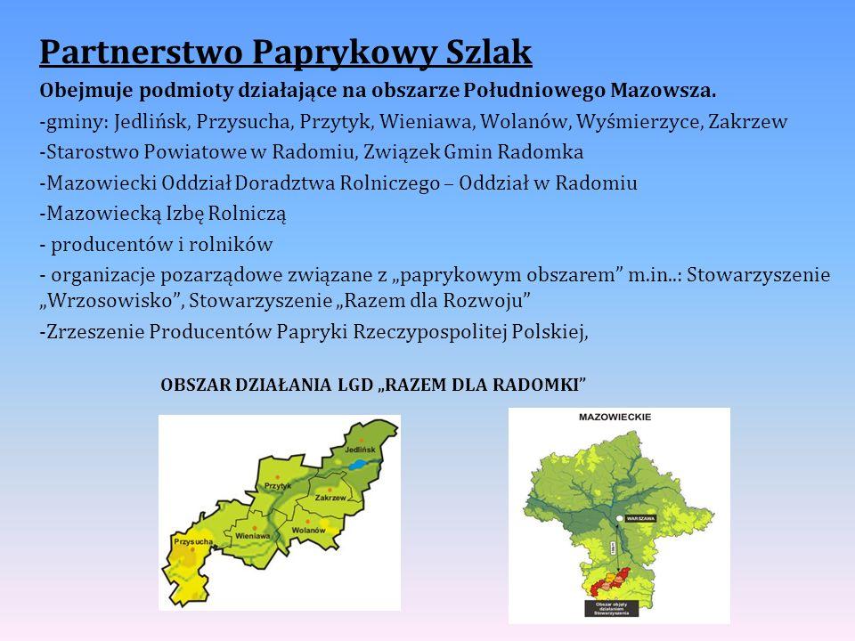 Partnerstwo Paprykowy Szlak Obejmuje podmioty działające na obszarze Południowego Mazowsza. -gminy: Jedlińsk, Przysucha, Przytyk, Wieniawa, Wolanów, W