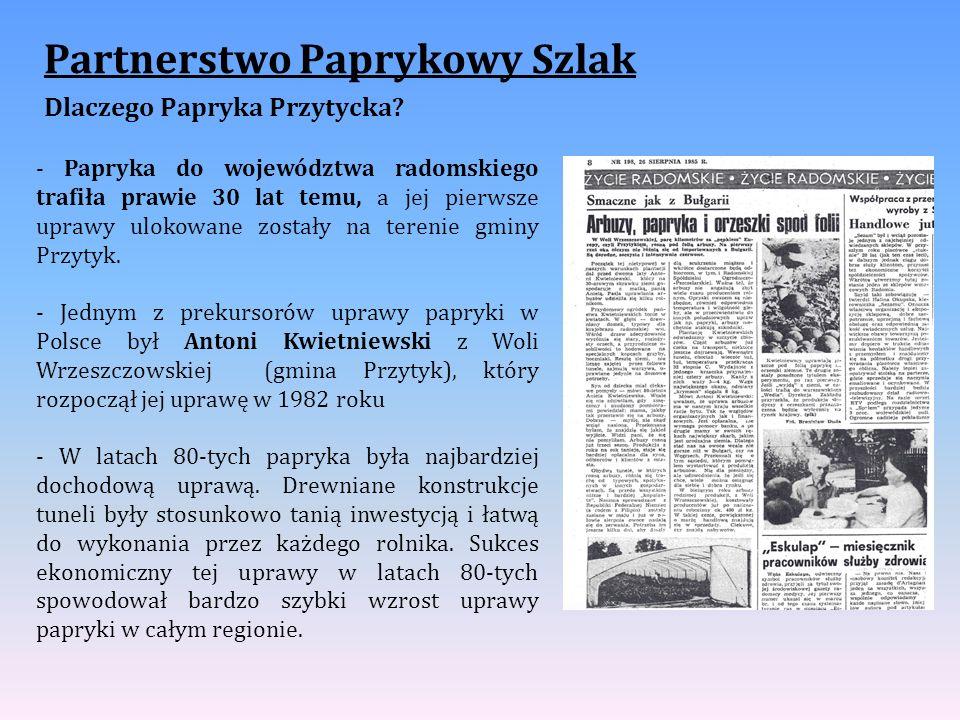 Partnerstwo Paprykowy Szlak Dlaczego Papryka Przytycka? - Papryka do województwa radomskiego trafiła prawie 30 lat temu, a jej pierwsze uprawy ulokowa
