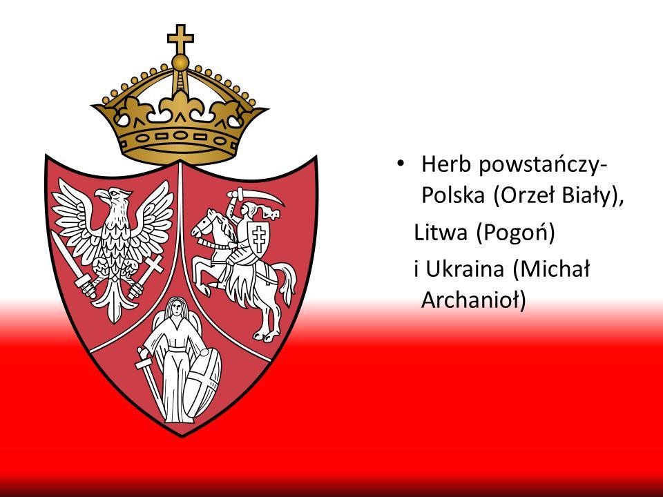 Herb powstańczy- Polska (Orzeł Biały), Litwa (Pogoń) i Ukraina (Michał Archanioł)