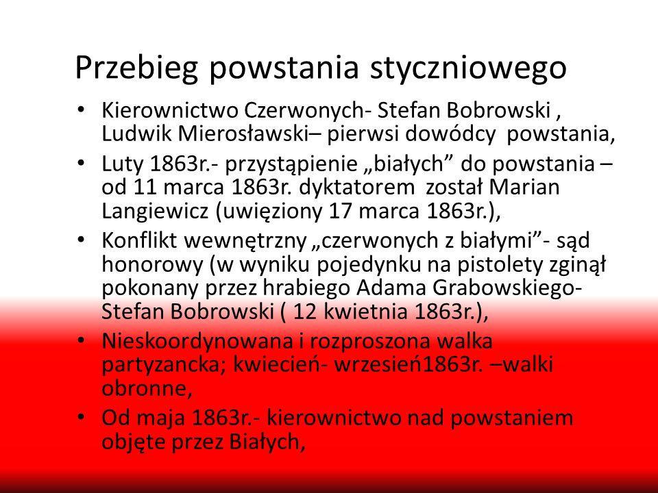 Przebieg powstania styczniowego Kierownictwo Czerwonych- Stefan Bobrowski, Ludwik Mierosławski– pierwsi dowódcy powstania, Luty 1863r.- przystąpienie