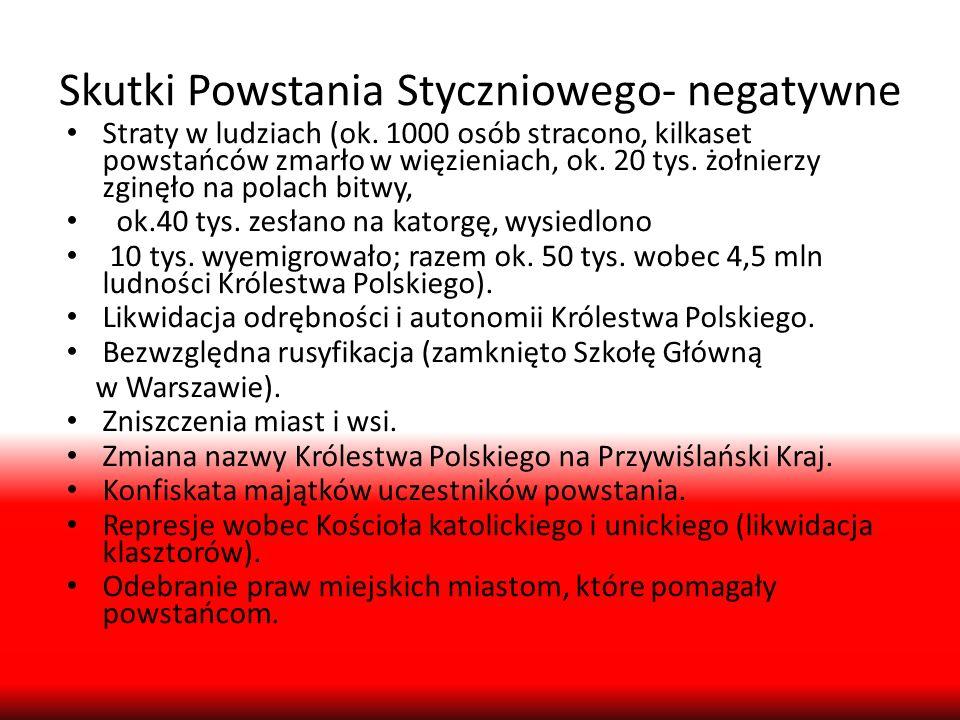 Skutki Powstania Styczniowego- negatywne Straty w ludziach (ok. 1000 osób stracono, kilkaset powstańców zmarło w więzieniach, ok. 20 tys. żołnierzy zg