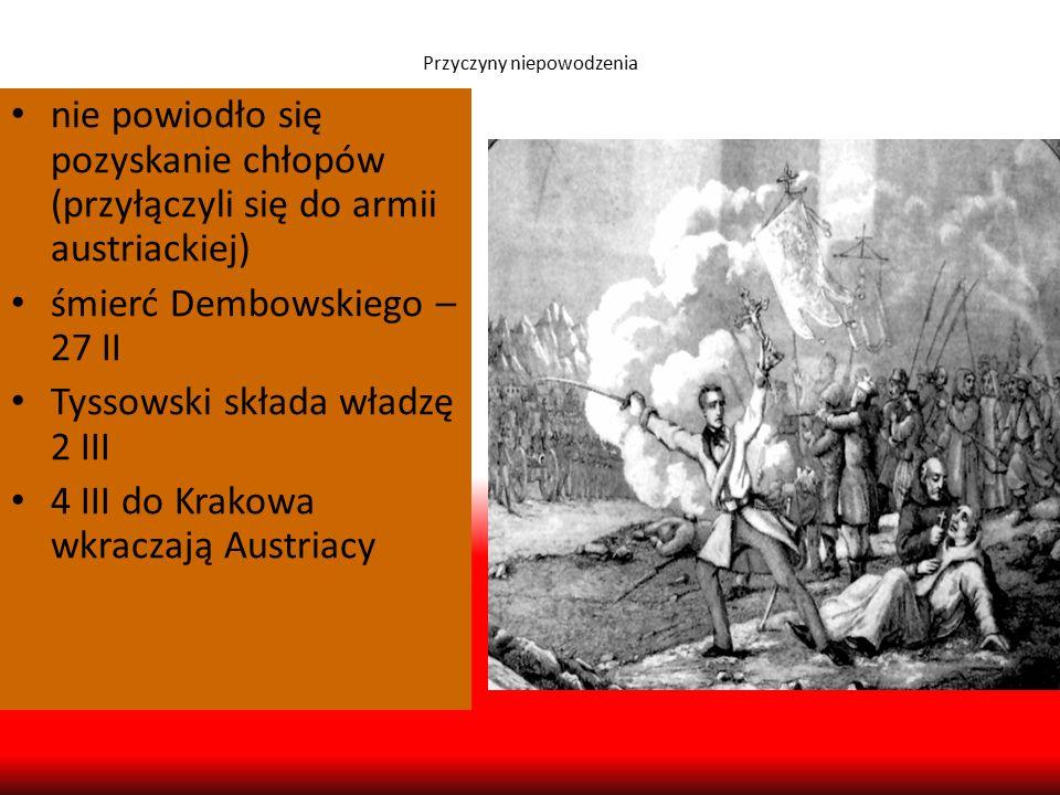 Przyczyny niepowodzenia nie powiodło się pozyskanie chłopów (przyłączyli się do armii austriackiej) śmierć Dembowskiego – 27 II Tyssowski składa władz