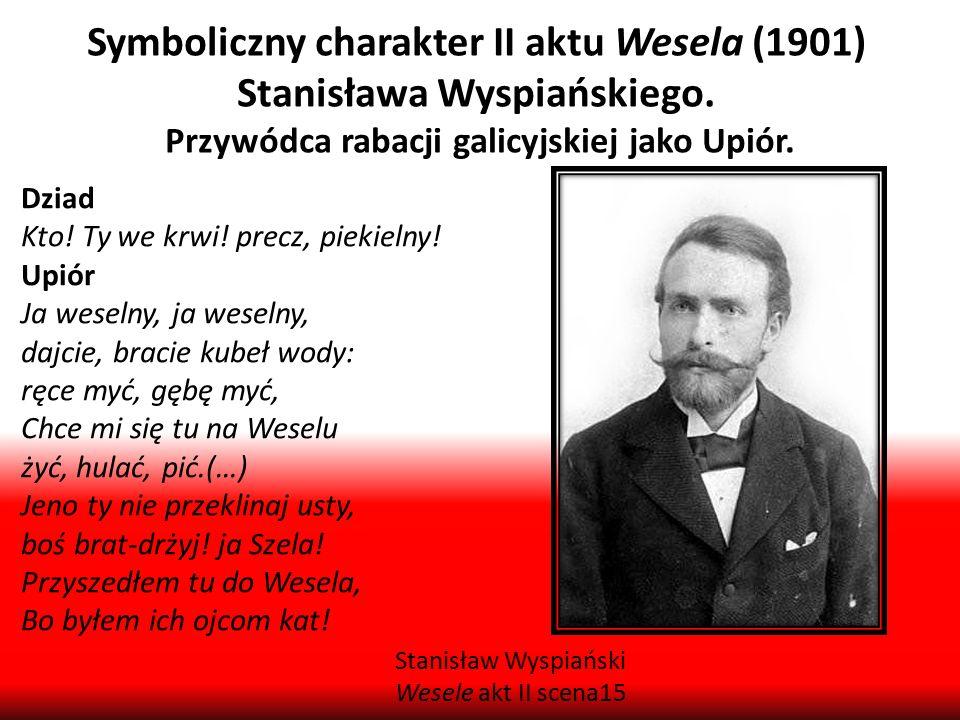 Symboliczny charakter II aktu Wesela (1901) Stanisława Wyspiańskiego. Przywódca rabacji galicyjskiej jako Upiór. Dziad Kto! Ty we krwi! precz, piekiel