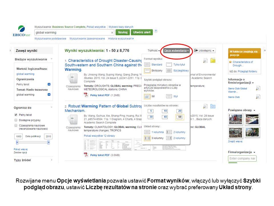 Rozwijane menu Opcje wyświetlania pozwala ustawić Format wyników, włączyć lub wyłączyć Szybki podgląd obrazu, ustawić Liczbę rezultatów na stronie oraz wybrać preferowany Układ strony.