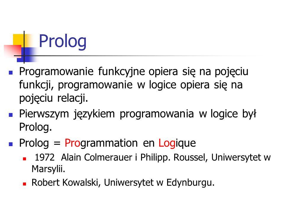 Prolog Obiekt występujący w Prologu jest abstrakcyjnym bytem.